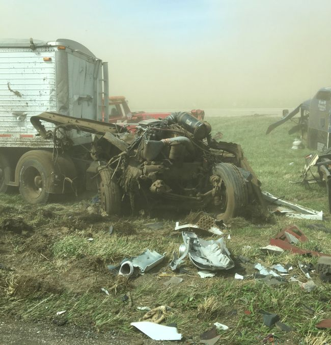 Multiple injured in dust storm pile up