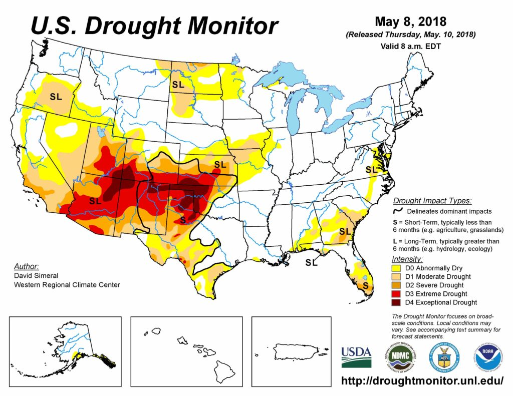 National Drought Summary for May 8, 2018