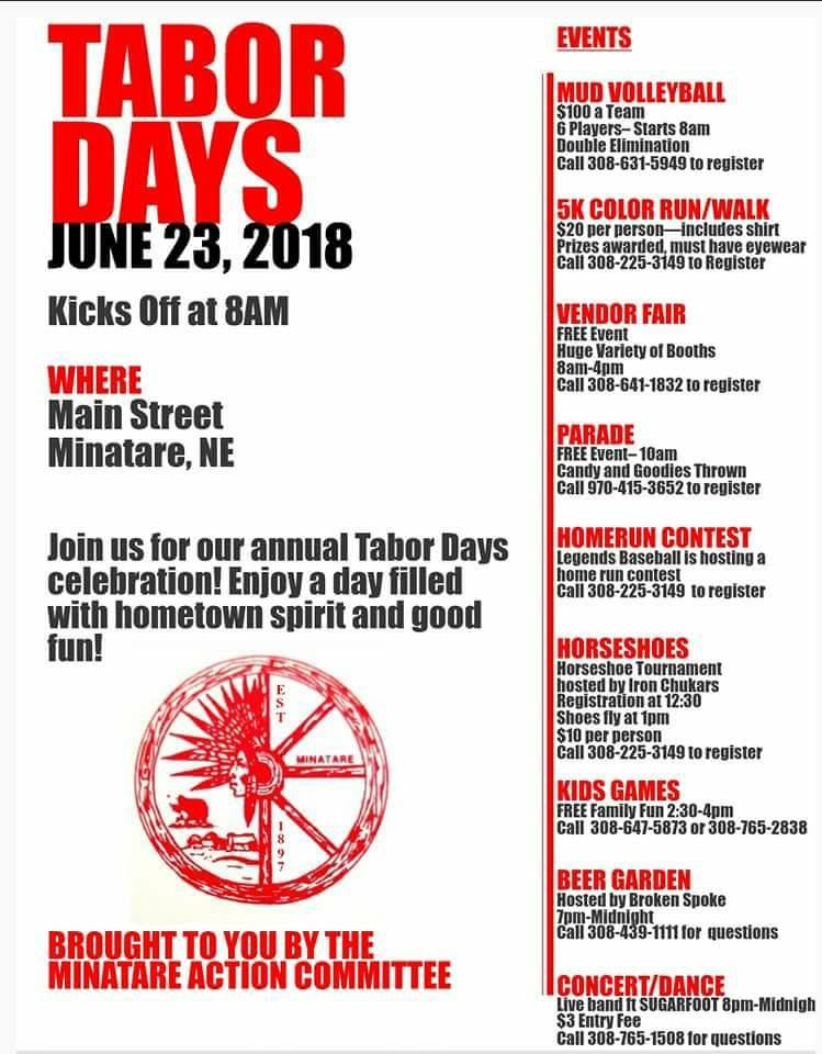 Minatare Action Committee to host Tabor days celebration next weekend