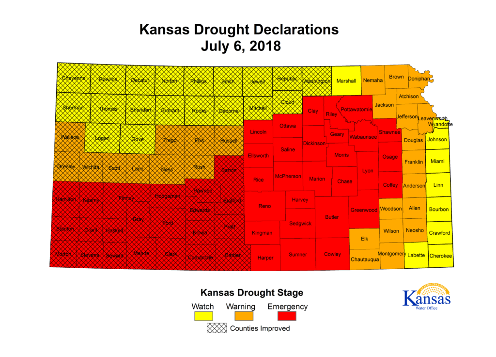 Governor Updates Drought Declarations in Kansas Counties