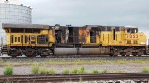Lexington Volunteer Firefighters smother train engine fire