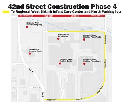 West 42nd Street construction impacts Regional West parking