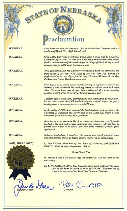 Ricketts proclaims Saturday as Scott Frost Day in Nebraska