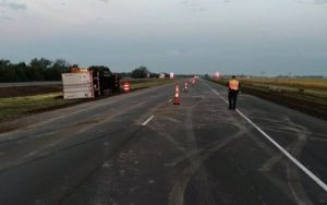 Semi rollover west of Maxwell results in minor injuries