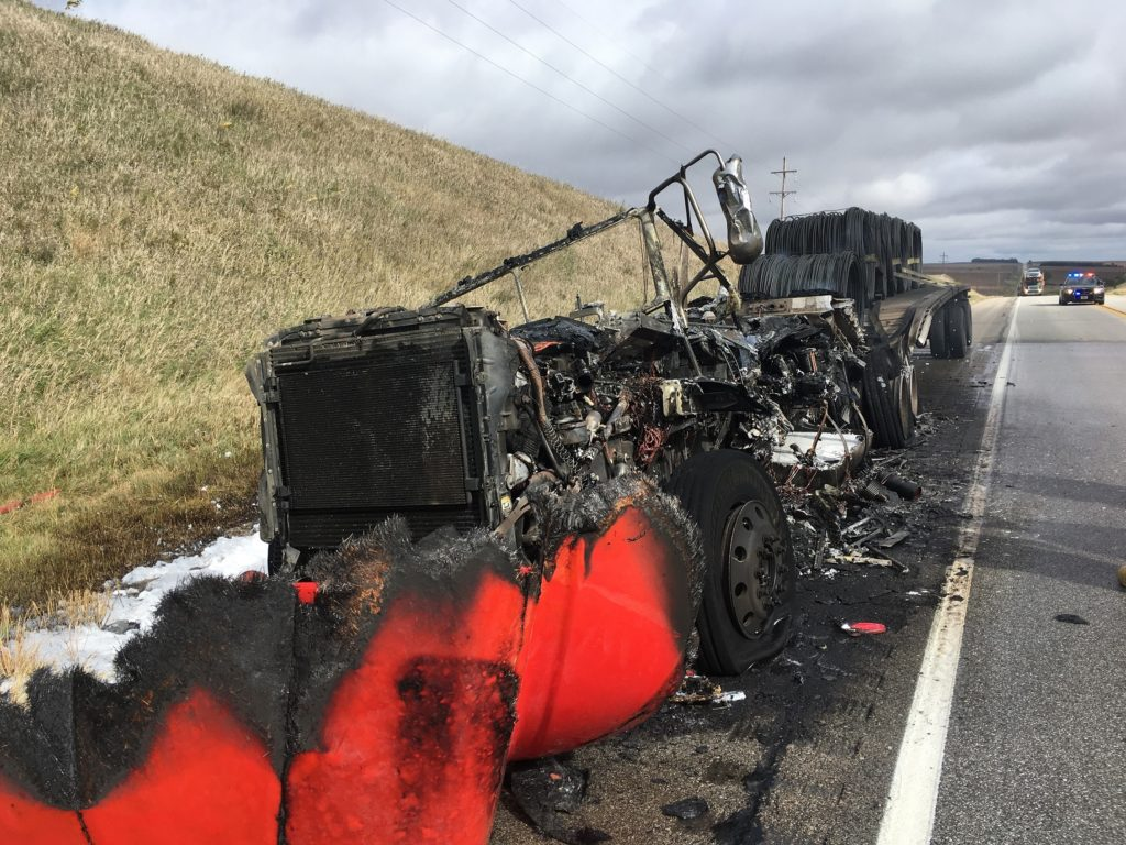 Accident On Highway 275 Leaves Semi Fully Engulfed In Flames