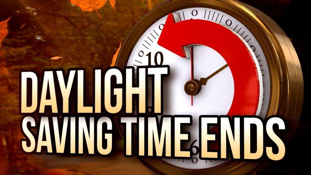 Reminder: Daylight Savings Time ends Sunday