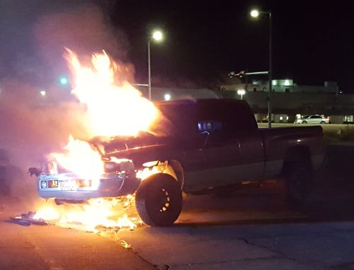 Truck catches fire, no one injured