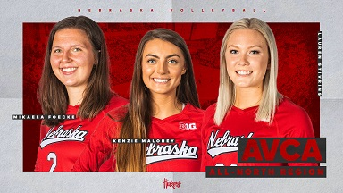 Three Huskers Named to AVCA All-Region Team