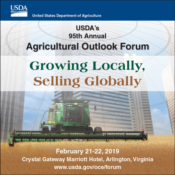 USDA Announces Plenary Speakers for the 2019 Agricultural Outlook Forum