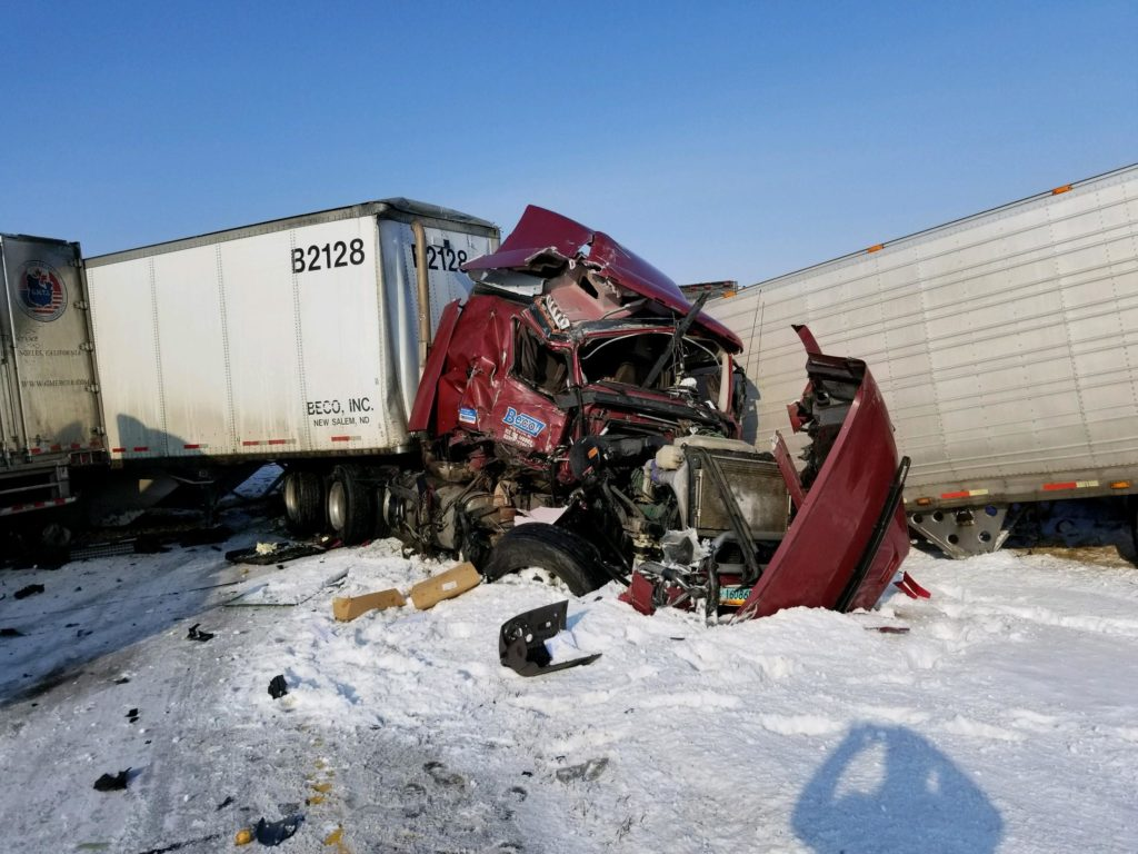 Nine Semis Involved in Crashes on I-80 near Aurora