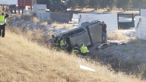 Restraint use prevents serious injury in Friday afternoon rollover