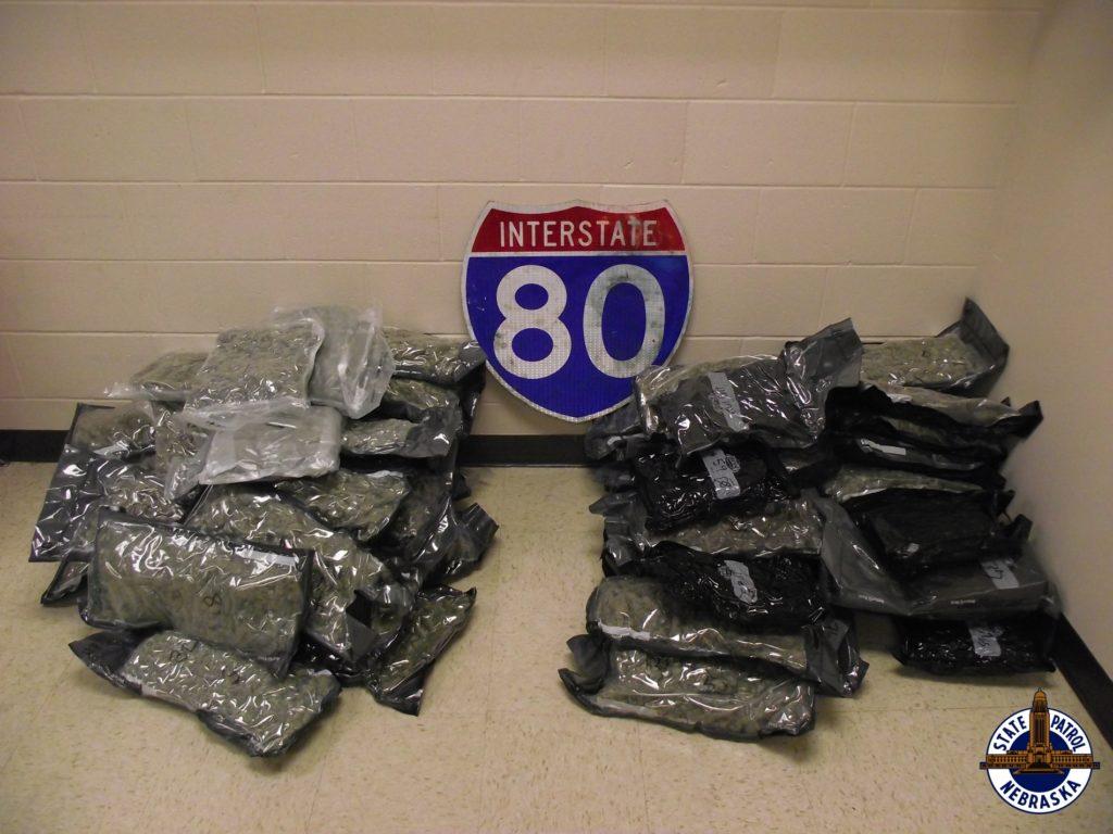 More than 110 pounds of marijuana seized in two western Nebraska traffic stops