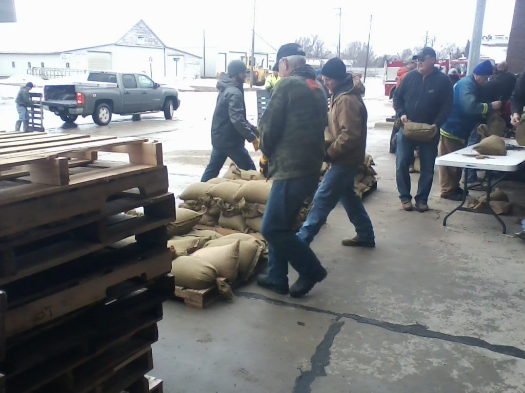 Sandbags being filled at the West Point Fire Station