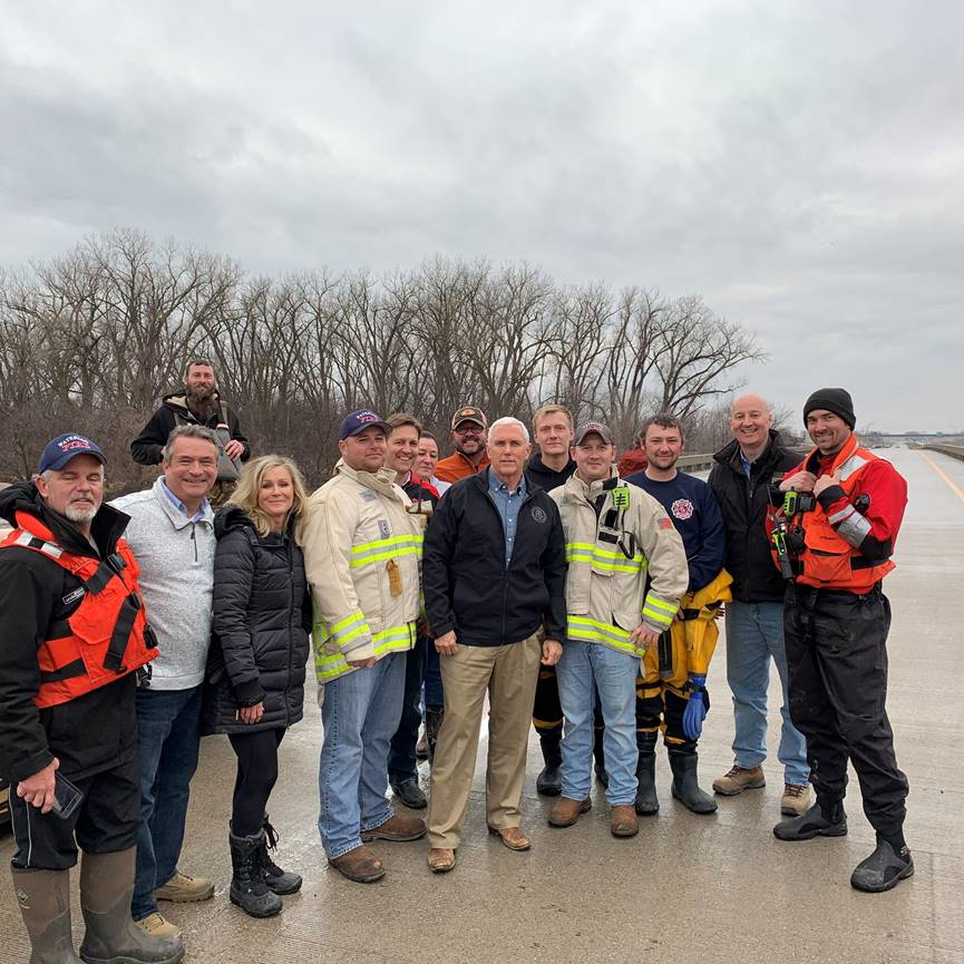 (AUDIO) Gov. Ricketts Joins Vice President Pence to Assess Flood Damage, Thank First Responders