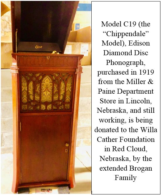 Donation of 100-Year Old Edison Diamond Disc Phonograph to Willa Cather Foundation Honors Prominent Geneva Couple