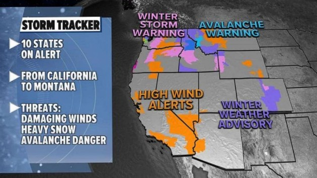 Stormy weather pattern on the way for the West and the South