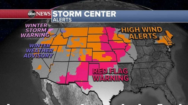 Storm brings winds, fire danger and flash flooding from Plains to the Gulf Coast