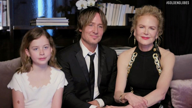 Keith Urban and Nicole Kidman appear at 2021 Golden Globes with their daughters