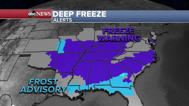 Winter-like wind chills in spring expected for Northeast and South