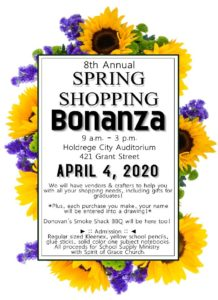 8th Annual Spring Shopping Bonanza @ Holdrege City Auditorium