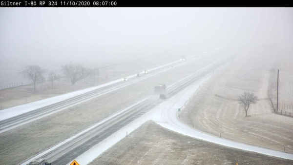 I-80: Wintry conditions, mixed snow, ice or slush