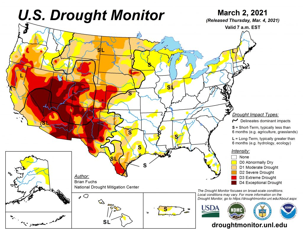 Drought conditions persist in the main corn growing states