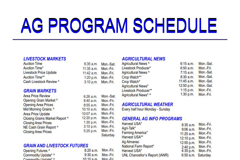 Ag Program Schedule