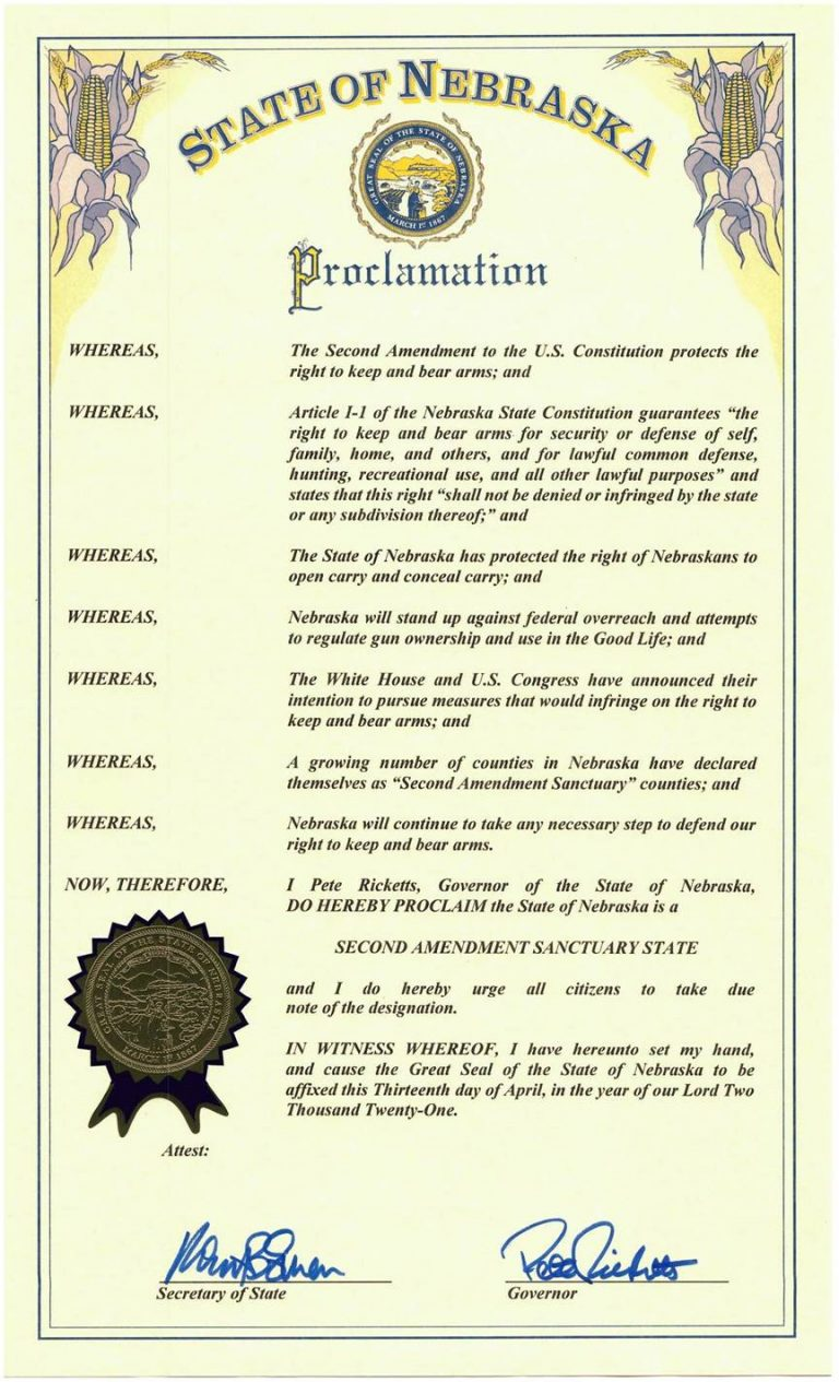 "Gov. Ricketts Designates Nebraska as a ""Second Amendment Sanctuary State"""