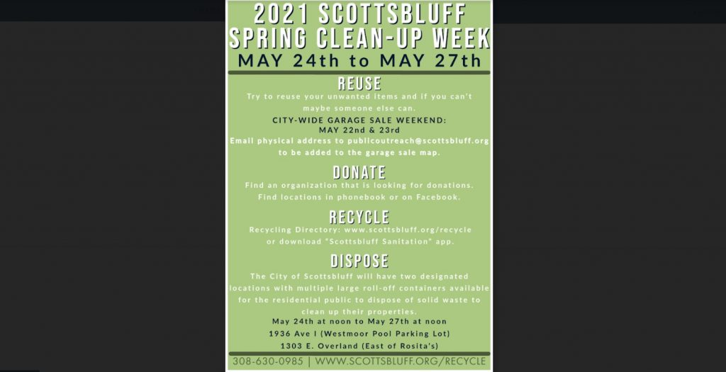 City of Scottsbluff to Host Spring Clean-up Week May 24-27th