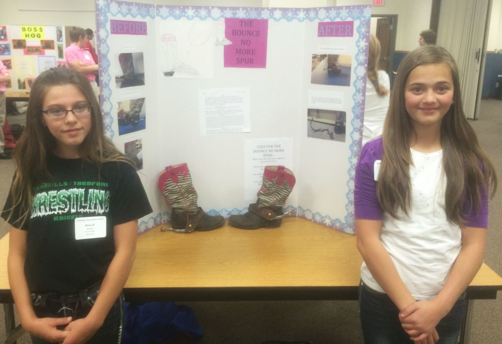 RRN/Dunning 6th graders present Bounce-No More-Spur. Left, Brea Branic and Kylie Hewett.