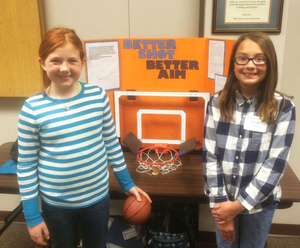 RRN/Lexington 5th graders invent, Better Shot-Better Aim. Left, Keri Smith and Kennadi Urest.