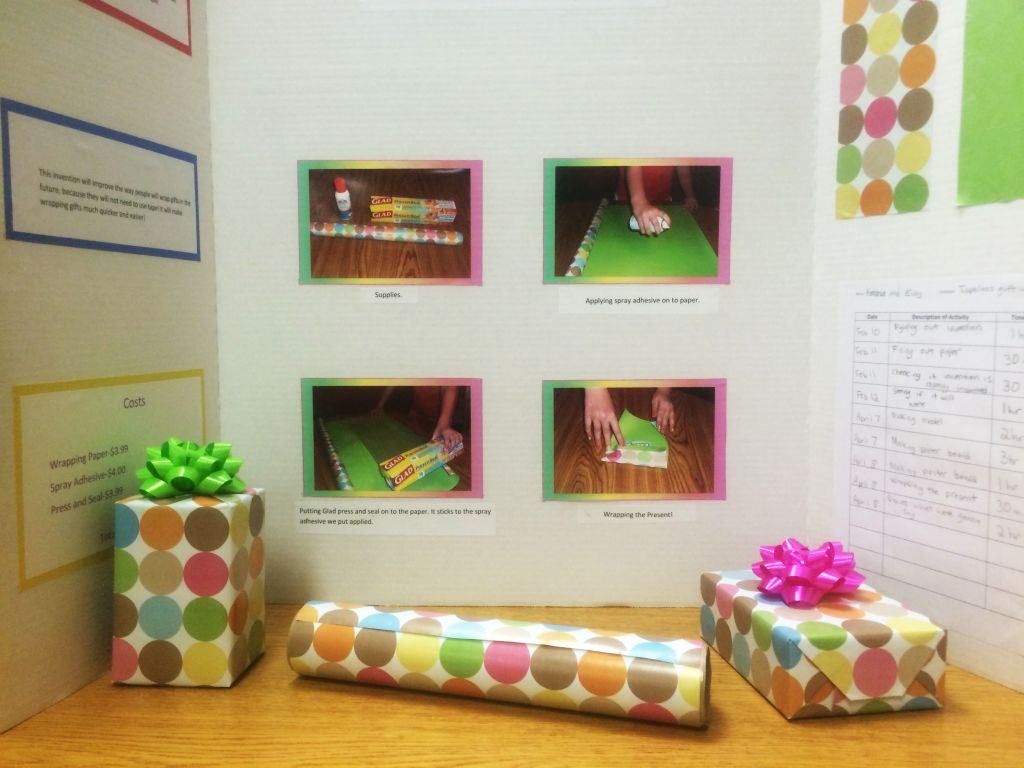 RRN/Ord 6th graders, Eidy Cardona and Emma Clein invent Tape-less Gift Wrap.