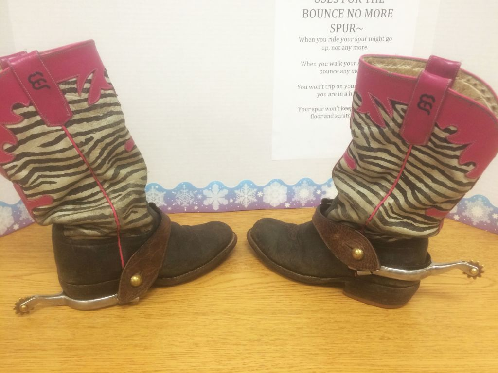 RRN/Dunning 6th graders, Brea Branic and Kylie Hewett's invention, Bounce-No More-Spur. Left shows no Velcro attached, right shows Velcro attached.