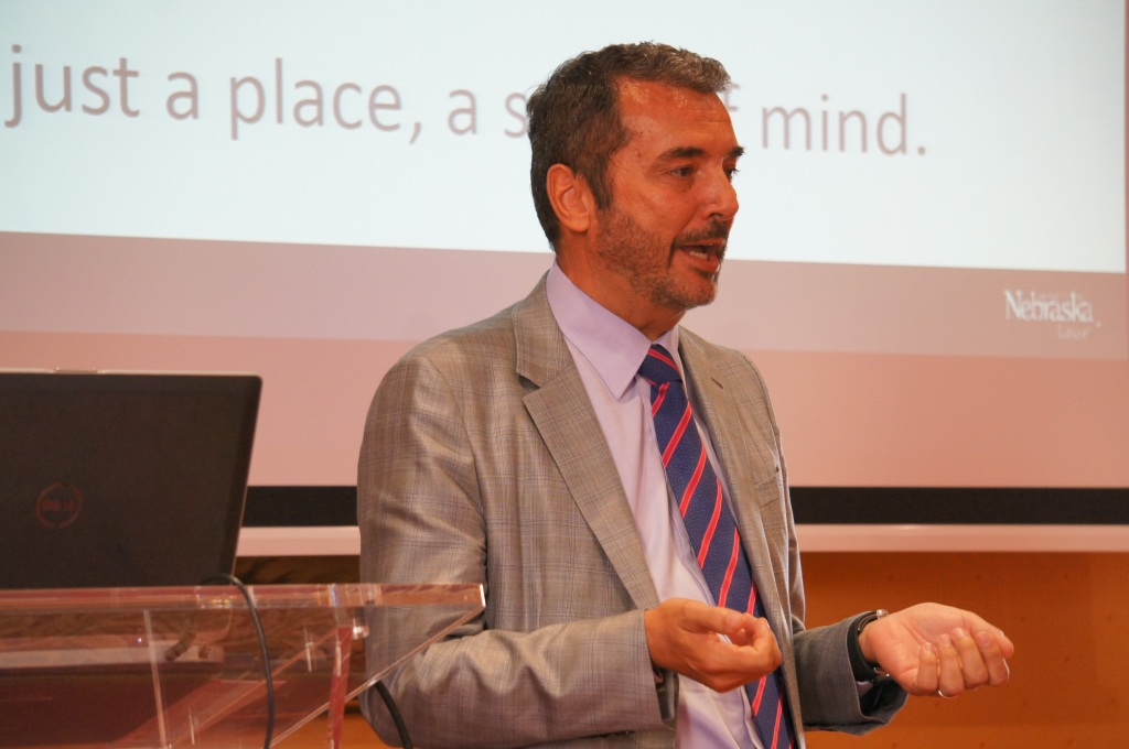 RRN's Jesse Harding. Marco Checchi, CEO and owner of Pelliconi, presenting during the promotional event.