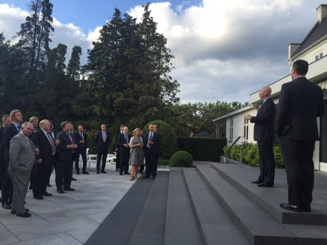 RRN's Jesse Harding. Governor Pete Ricketts talks to the delegation and guests at U.S. Ambassador's residence.