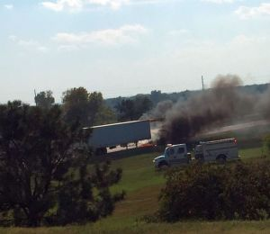 Courtesy/ Stacey Frauen.  Westbound semi on Interstate 80 late Tuesday afternoon catches fire near Lexington interchange.