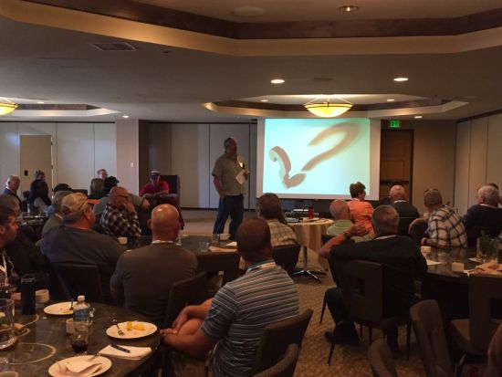 RRN/Ray Weller of Vail Resorts giving a presentation in Breckenridge.