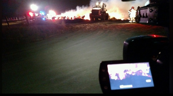 Firefighters deal with Buffalo County hay bale fire