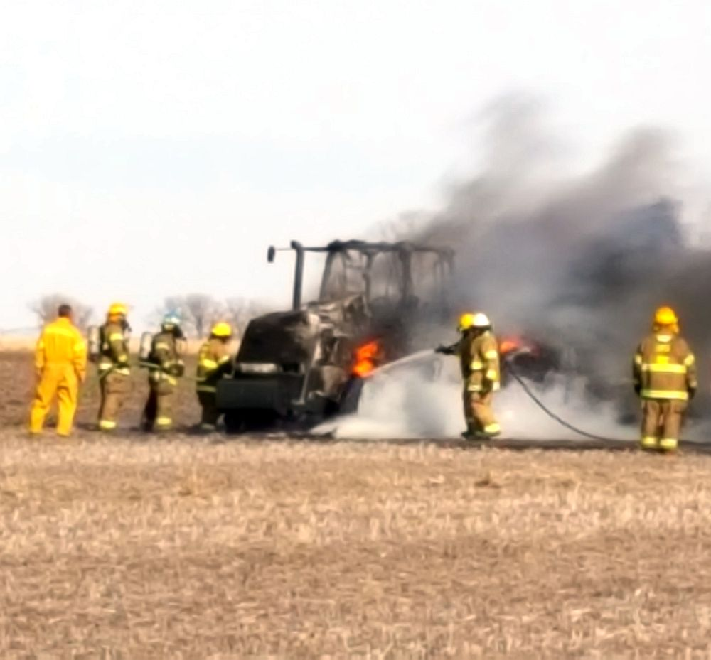 Tractor destroyed in fire southeast of Lexington Friday