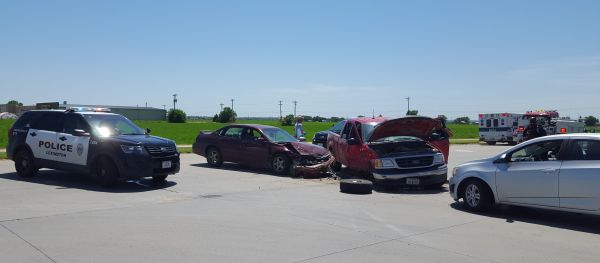 One person transported after three vehicle collision