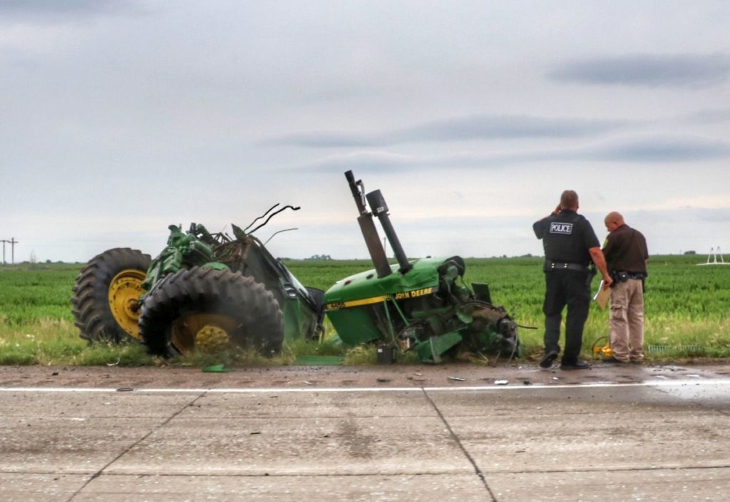 Truck and tractor collided near Cozad Monday morning