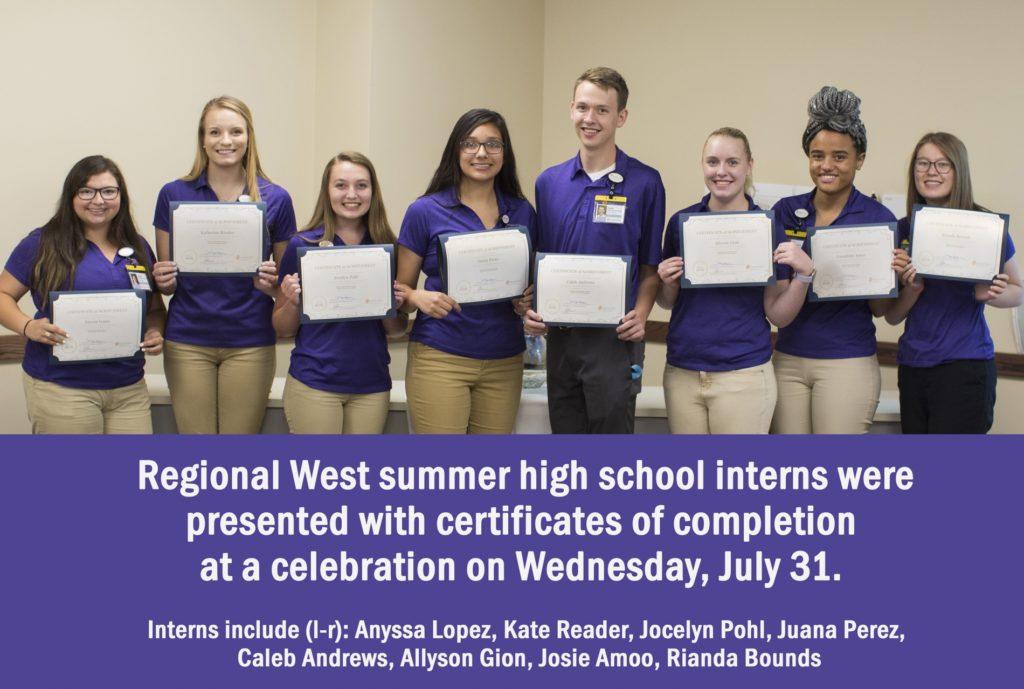 Students Complete First Summer High School Internship Program at Regional West