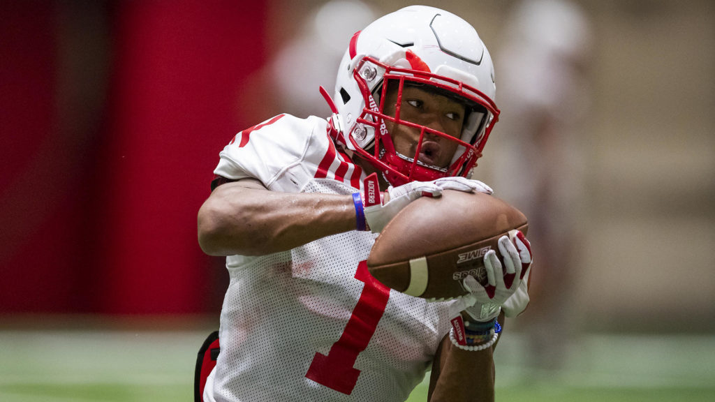 Huskers Practice in Full Pads for First Time