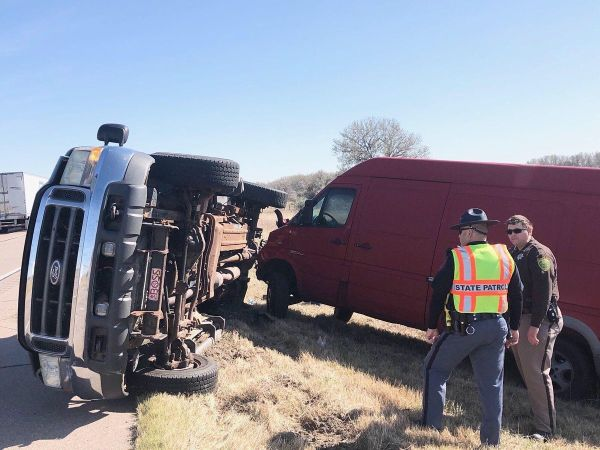 Blown tire causes rollover west of Cozad