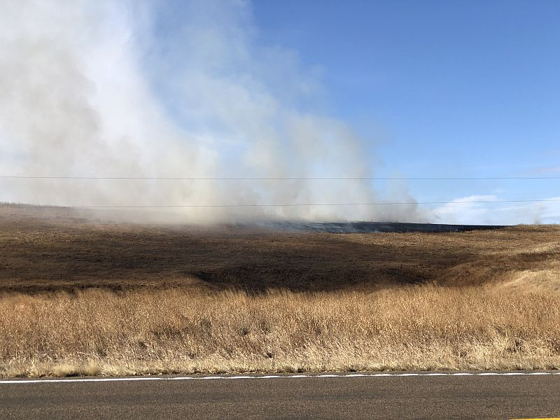 Grass fire occurred Monday south of Broken Bow