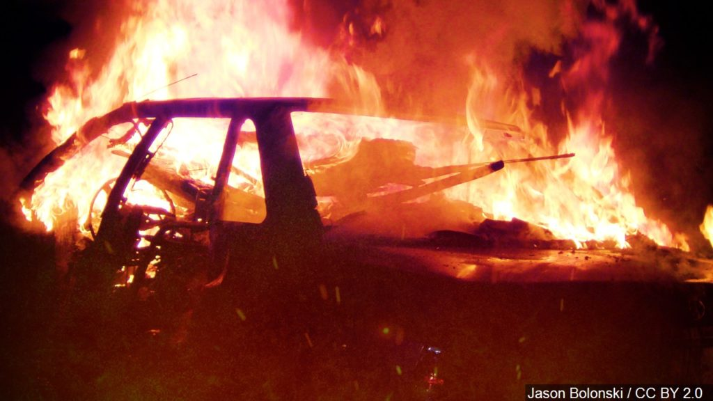 Vehicle Erupts in Flames Near Henry After Striking Deer