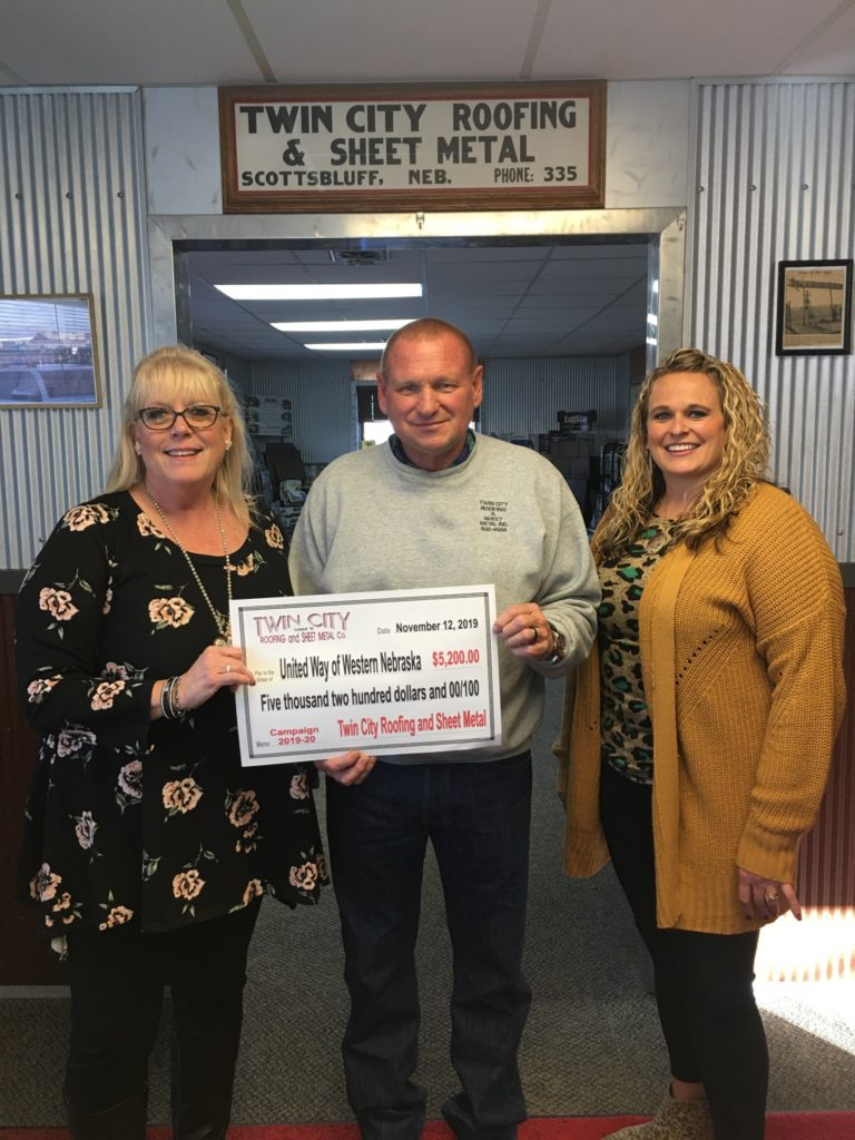 Twin City Roofing presents $5,200 donation to United Way of Western Nebraska