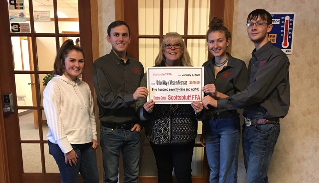 Scottsbluff FFA presents donation to United Way of Western Nebraska