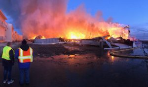 Knox County egg farm building erupts in flames