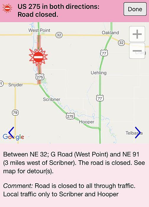 Ice jam leading to road closure in northeast Nebraska